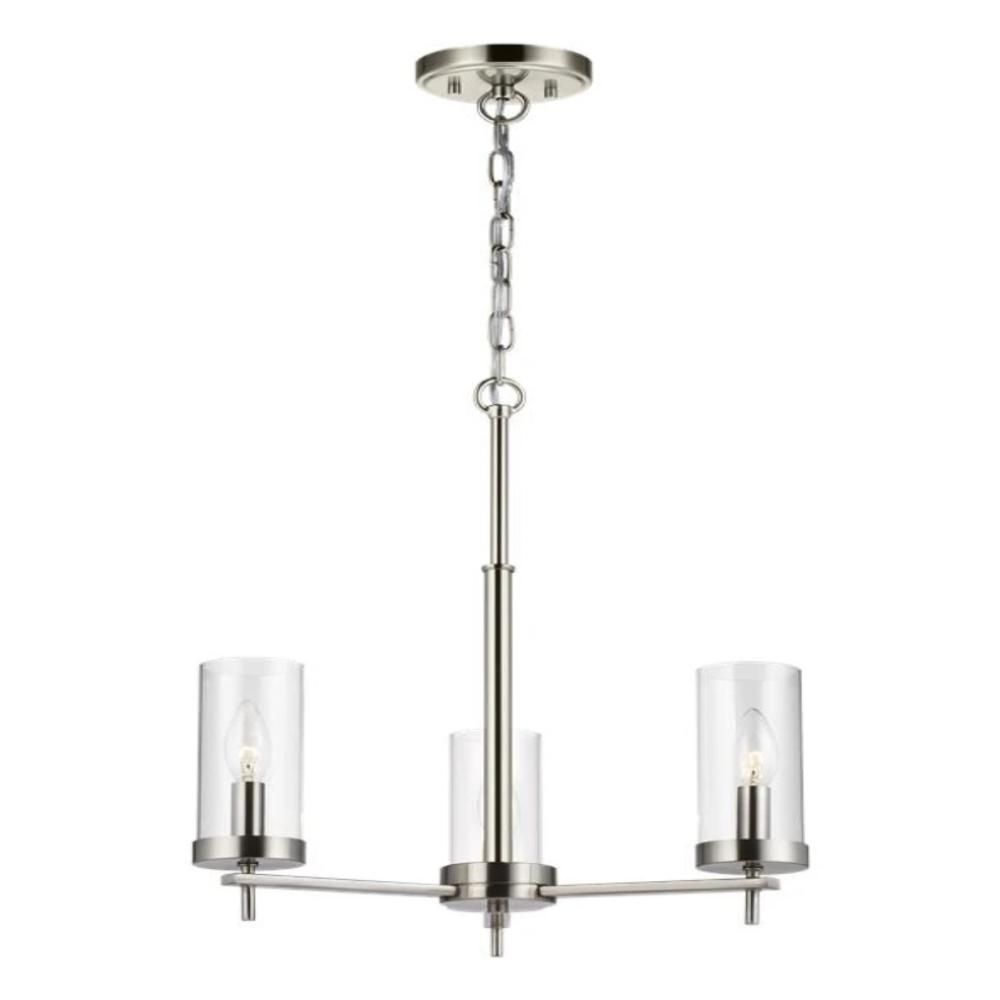 Huntington 3-Light Chandelier, Chandelier, Brushed Nickel