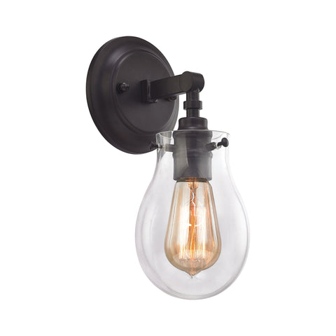 1 light jaelyn vanity sconce in oil rubbed bronze with clear teardrop glass shade by elk