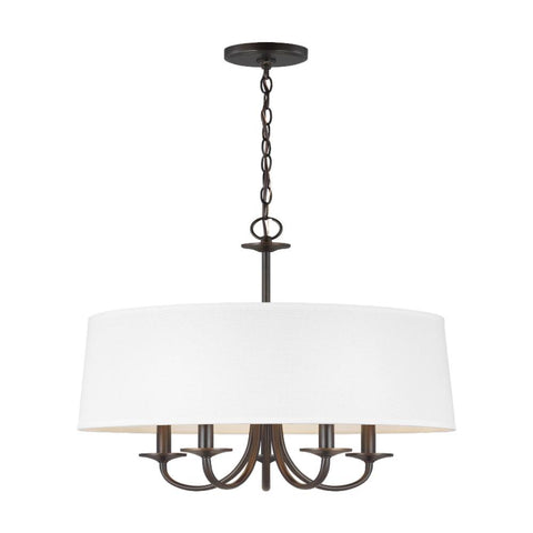Barton Five Light Shade Chandelier, Chandelier, Bronze