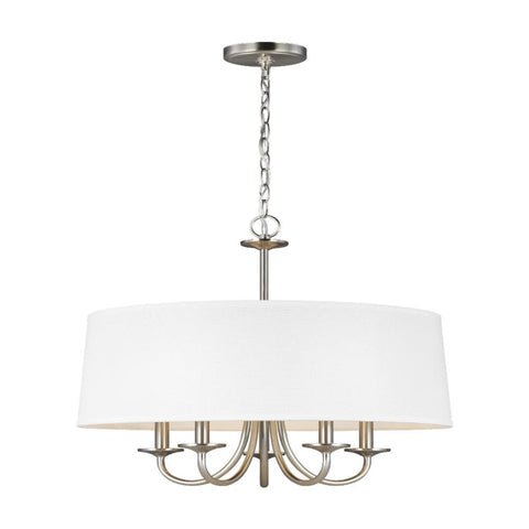 Barton Five Light Shade Chandelier, Chandelier, Brushed Nickel