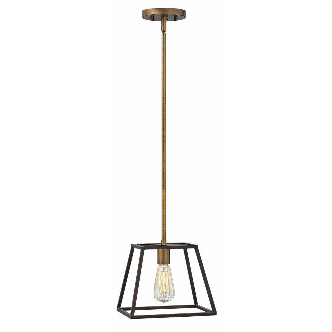 Fulton Pendant in Bronze by Hinkley Lighting 3337BZ | open cage dark bronze metal lantern with Copper-Brass Accents