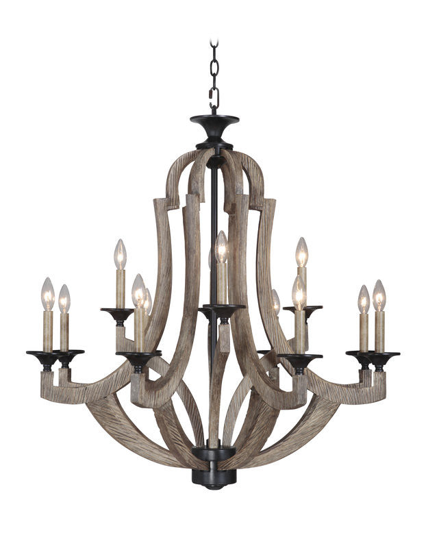 Winton 12 Light Chandelier in Weathered Pine by Craftmade 35112-WP