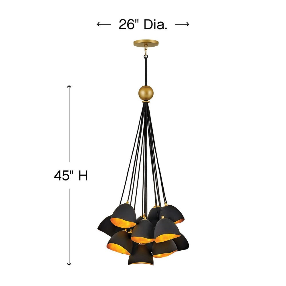 Lux Single Tier Cluster Pendant, Pendant, Shell Black with Gold Leaf Accents