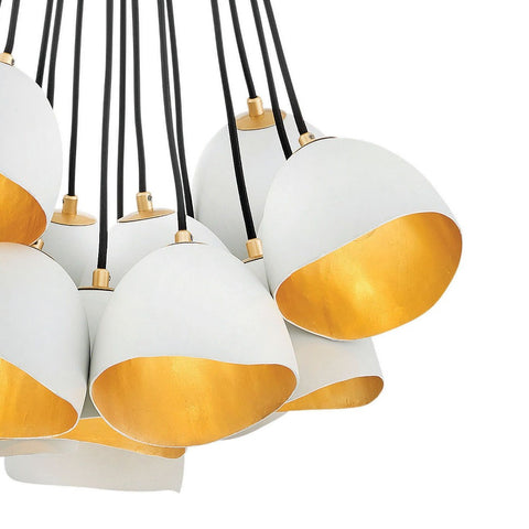 Lux Single Tier Cluster Pendant, Pendant, Shell White with Gold Leaf Accents
