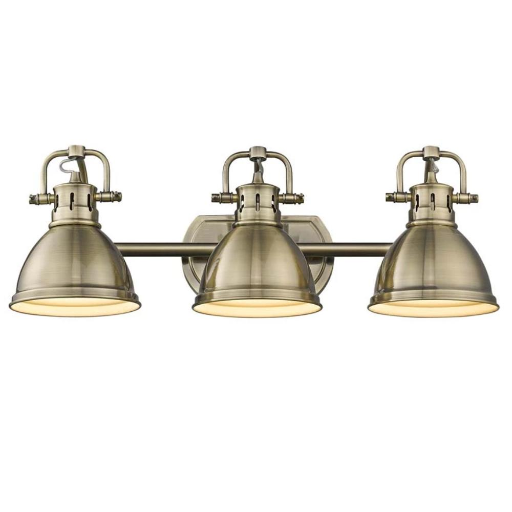 Duncan 3-Light Bath Vanity, Aged Brass, Aged Brass Shade