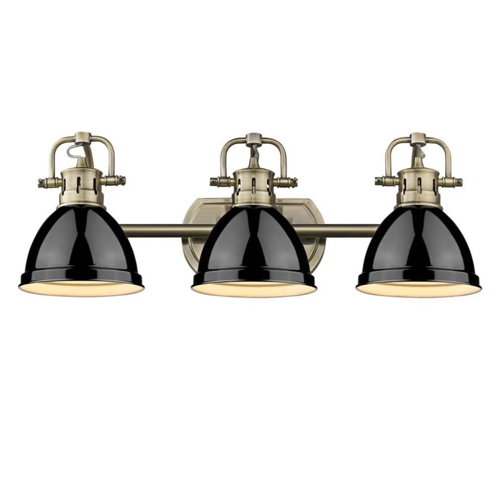 Duncan 3-Light Bath Vanity, Aged Brass, Black Shade