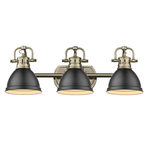 Duncan 3-Light Bath Vanity, Aged Brass, Matte Black Shade
