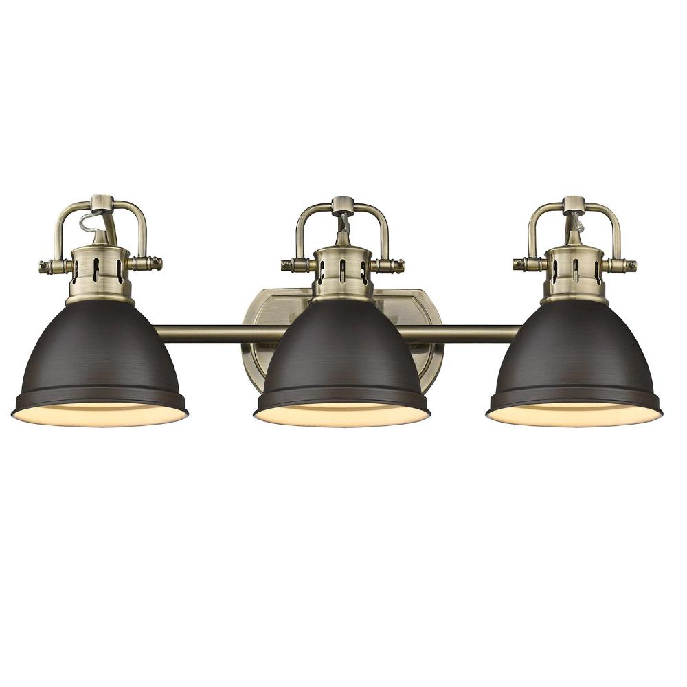 Duncan 3-Light Bath Vanity, Aged Brass, Rubbed Bronze Shade