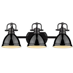 Duncan 3-Light Bath Vanity, Black, Black Shade