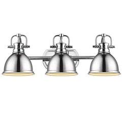 Duncan 3-Light Bath Vanity, Chrome, Chrome Shade