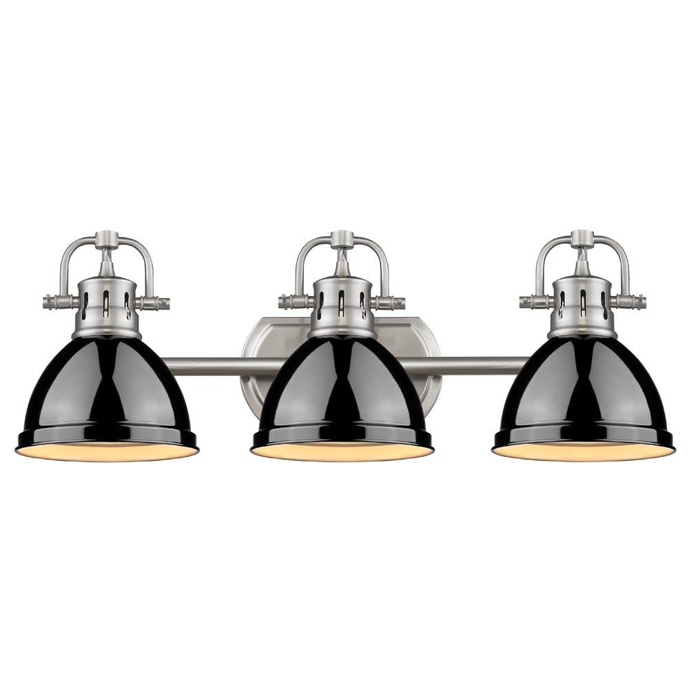 Duncan 3-Light Bath Vanity, Pewter, Black Shade