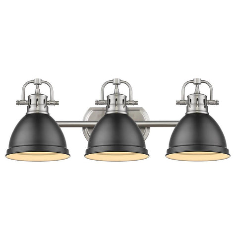 Duncan 3-Light Bath Vanity, Pewter, Matte Black Shade