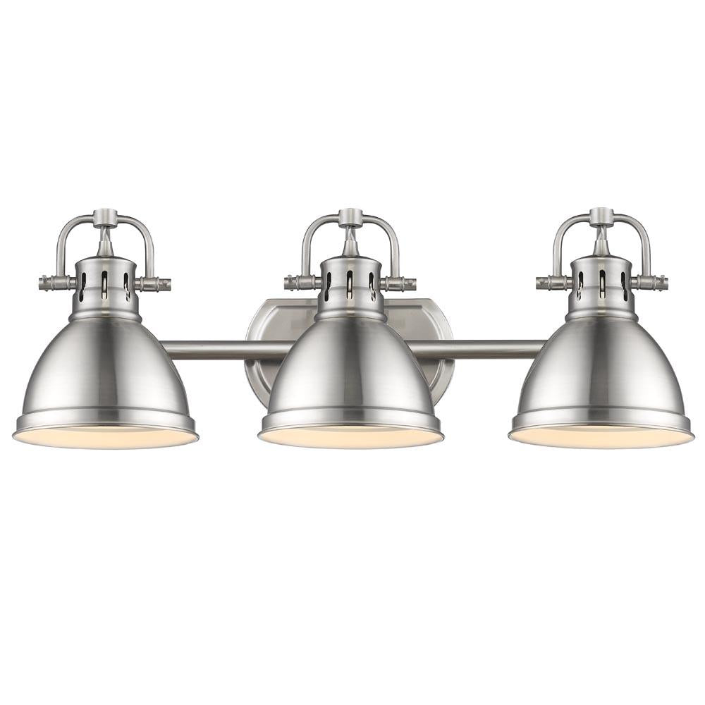 Duncan 3-Light Bath Vanity, Pewter, Pewter Shade