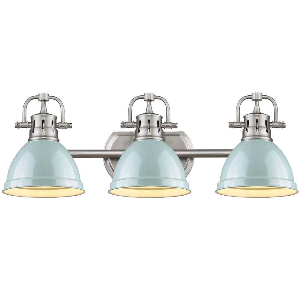 Duncan 3-Light Bath Vanity, Pewter, Seafoam Shade
