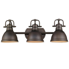 Duncan 3-Light Bath Vanity, Rubbed Bronze, Rubbed Bronze Shade
