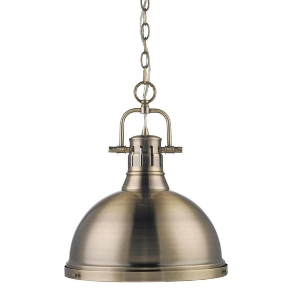 Duncan Large Pendant with Chain in Aged Brass, Pendant, Age Brass