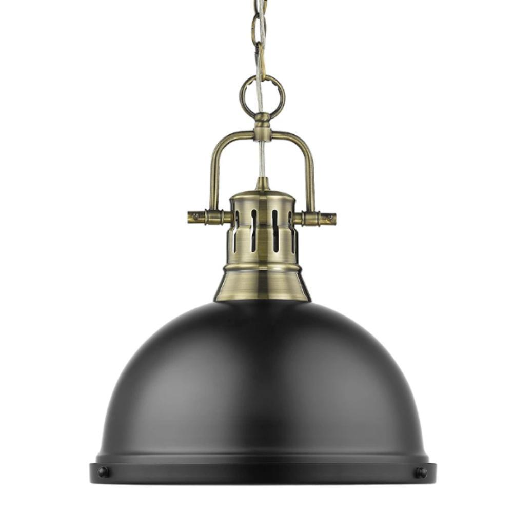 Duncan Large Pendant with Chain in Aged Brass, Pendant, Matte Black