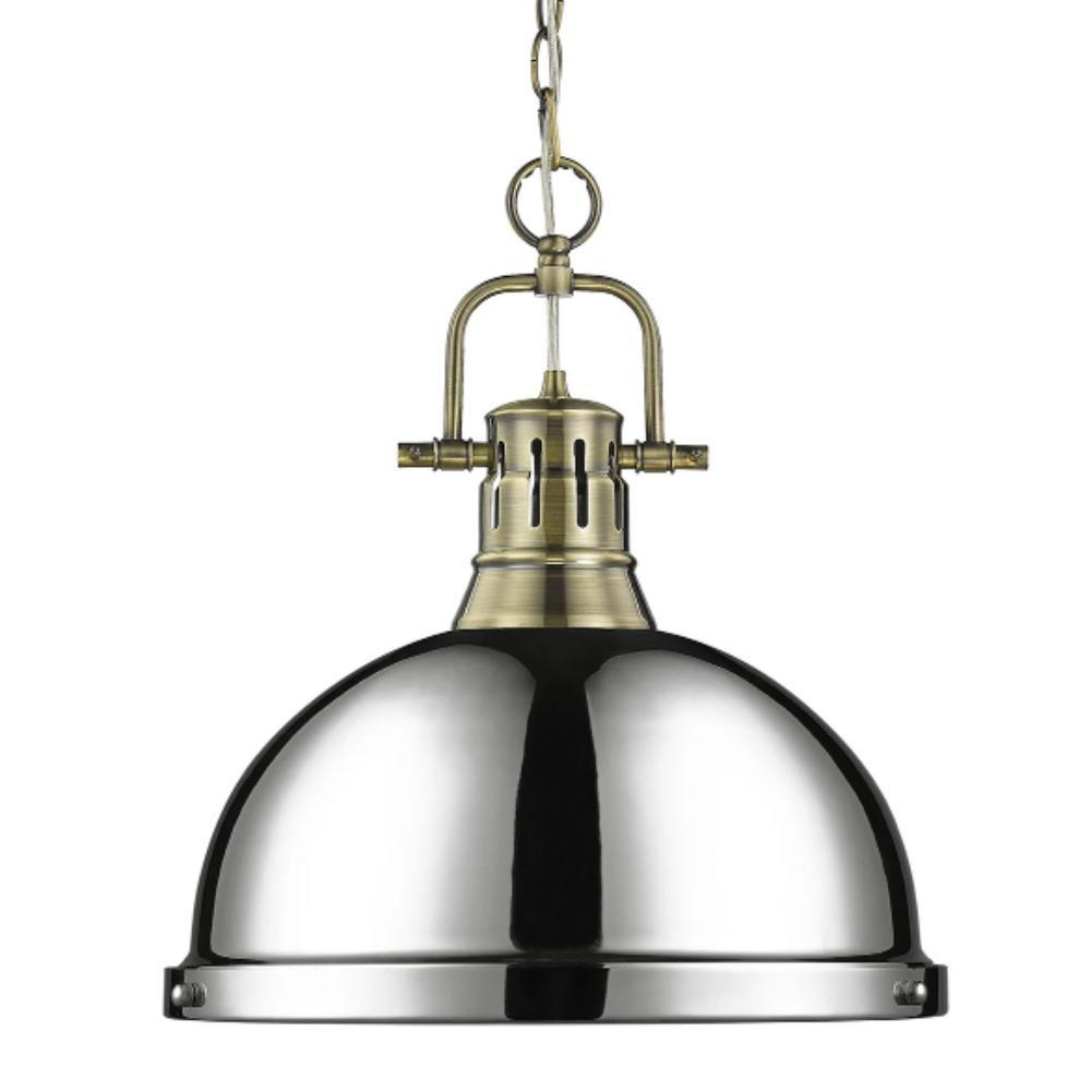 Duncan Large Pendant with Chain in Aged Brass, Pendant, Chrome
