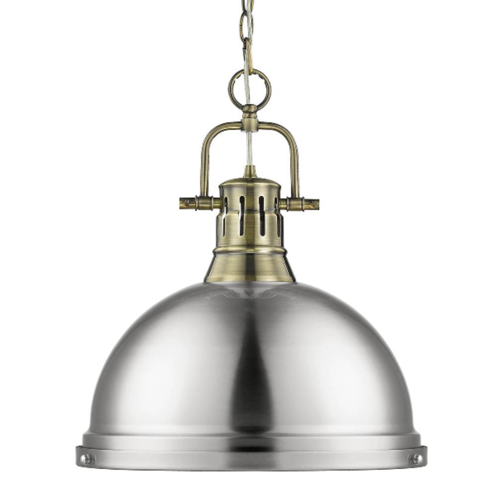 Duncan Large Pendant with Chain in Aged Brass, Pendant, Pewter