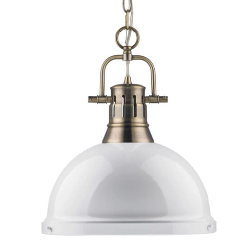 Duncan Large Pendant with Chain in Aged Brass, Pendant, White