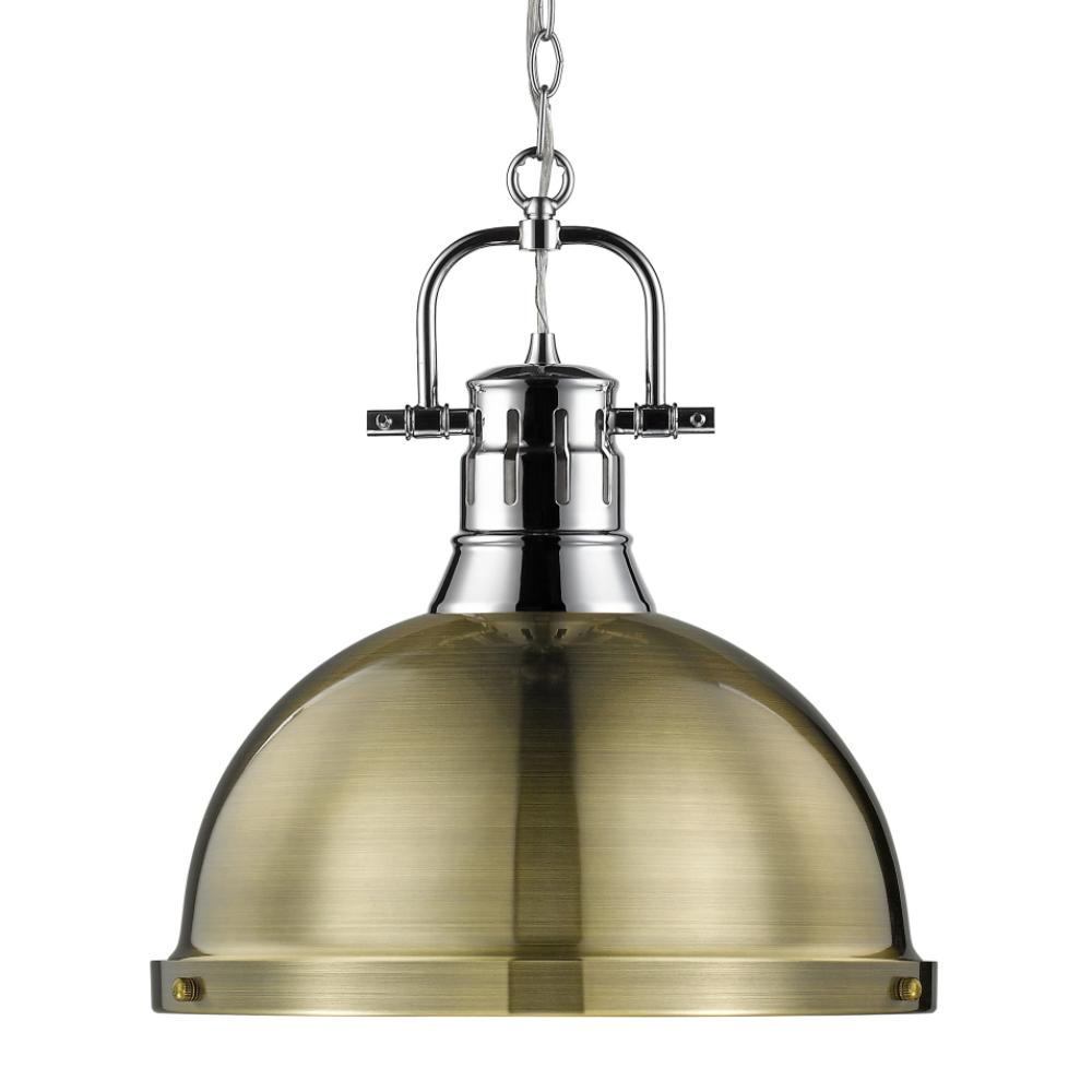 Duncan Large Pendant with Chain in Chrome, Pendant, Aged Brass