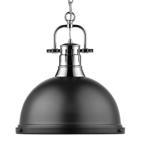 Duncan Large Pendant with Chain in Chrome, Pendant, Matte Black