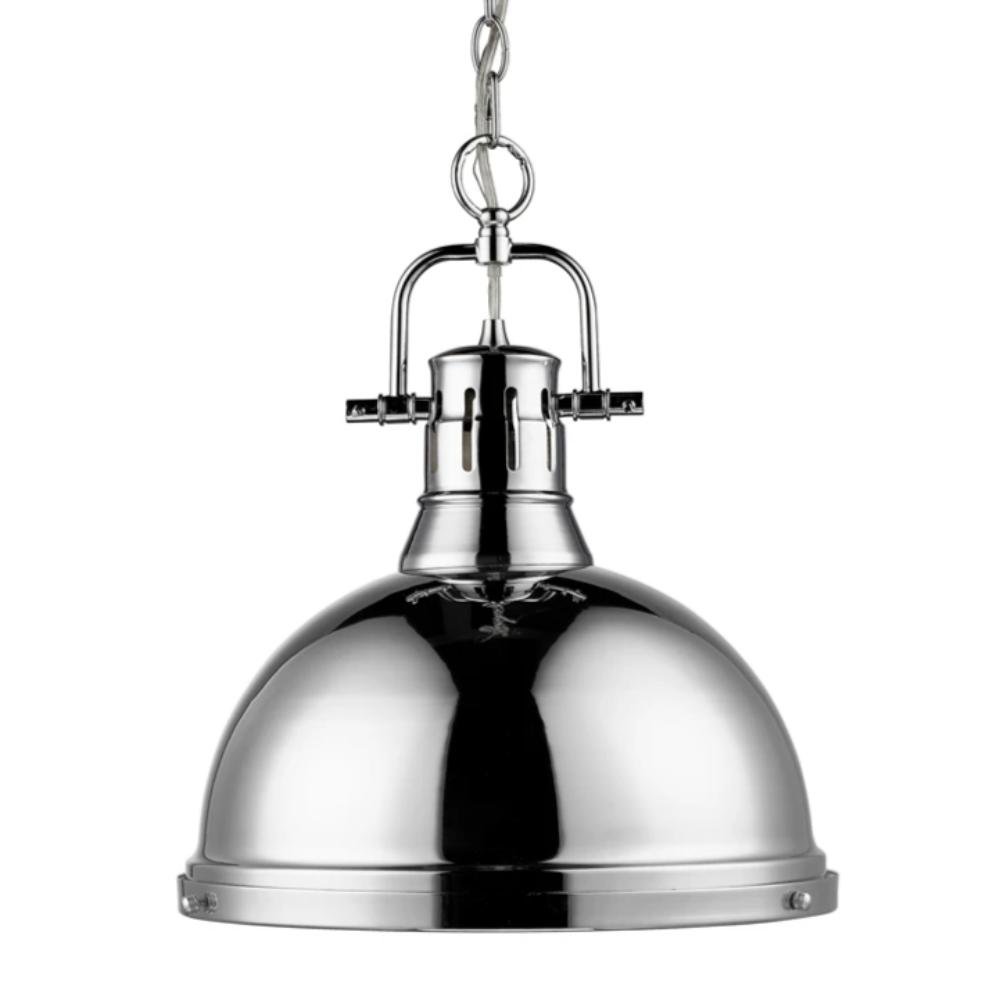 Duncan Large Pendant with Chain in Chrome, Pendant, Chrome