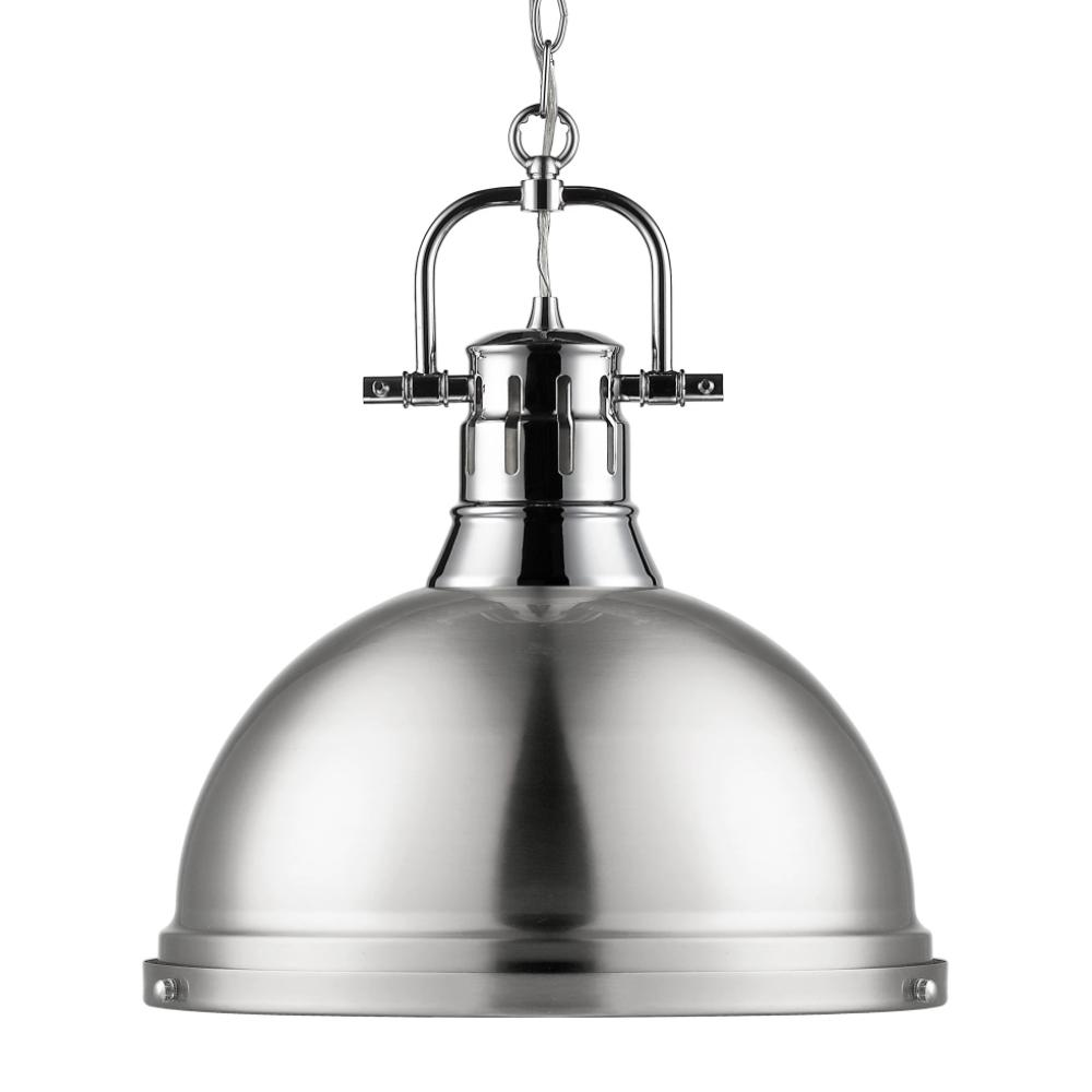 Duncan Large Pendant with Chain in Chrome, Pendant, Pewter