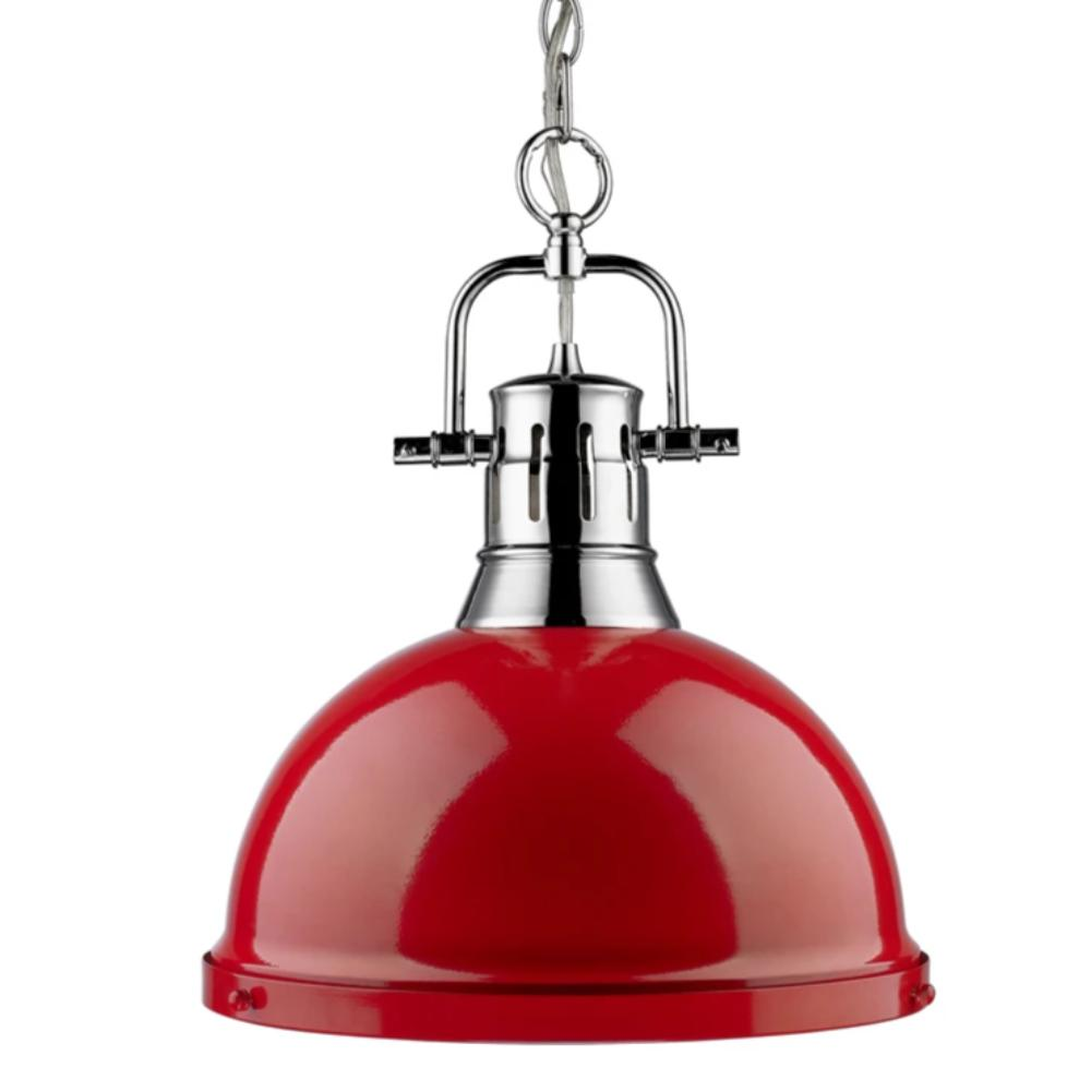 Duncan Large Pendant with Chain in Chrome, Pendant, Red