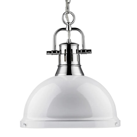 Duncan Large Pendant with Chain in Chrome, Pendant, White