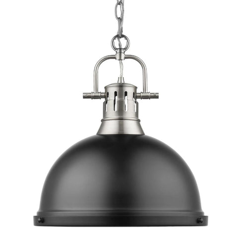 Duncan Large Pendant with Chain in Pewter, Pendant, Matte Black