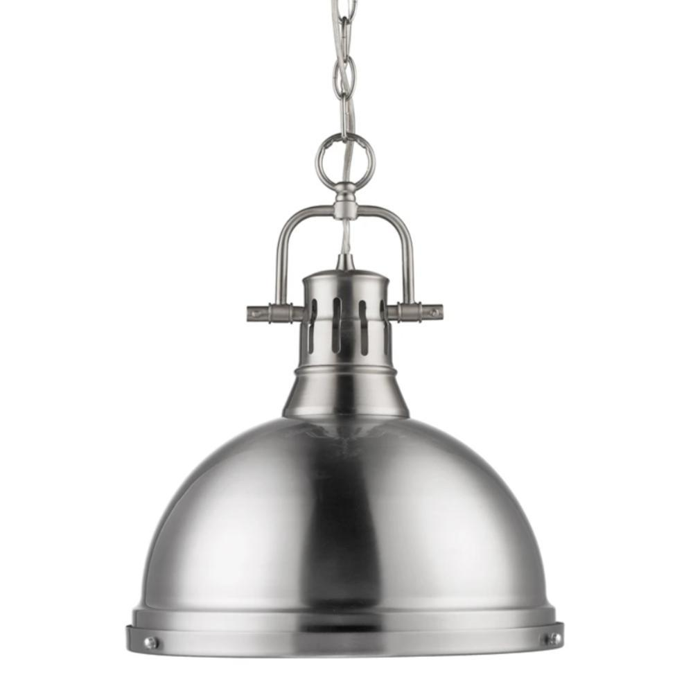 Duncan Large Pendant with Chain in Pewter, Pendant, Pewter