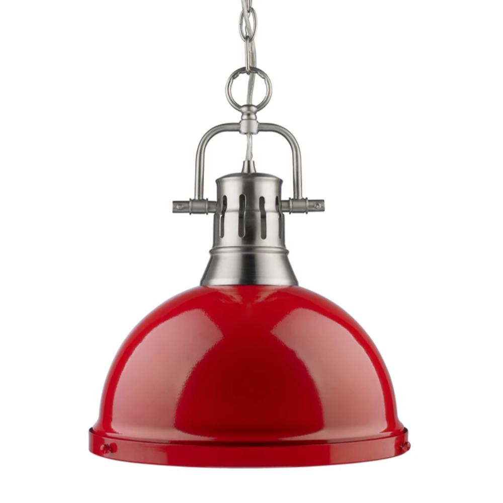 Duncan Large Pendant with Chain in Pewter, Pendant, Red