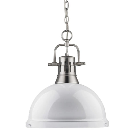Duncan Large Pendant with Chain in Pewter, Pendant, White