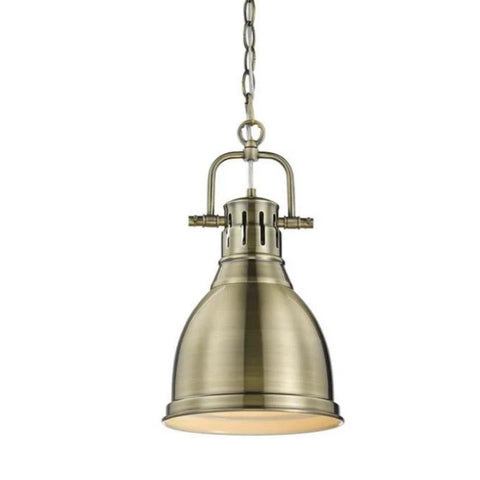 Duncan Small Pendant with Chain, Aged Brass, Aged Brass Shade