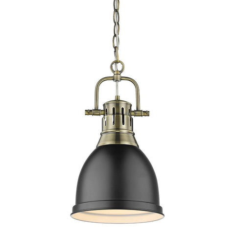 Duncan Small Pendant with Chain, Aged Brass, Matte Black Shade