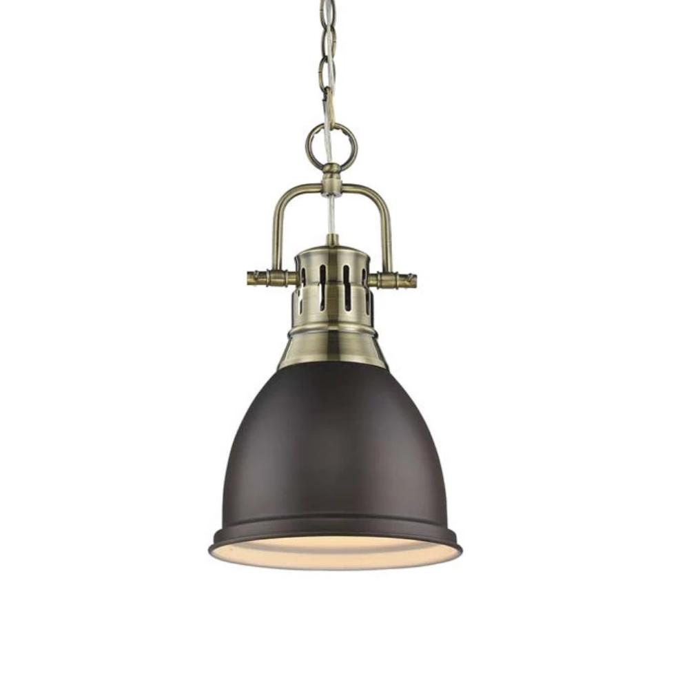 Duncan Small Pendant with Chain, Aged Brass, Rubbed Bronze Shade