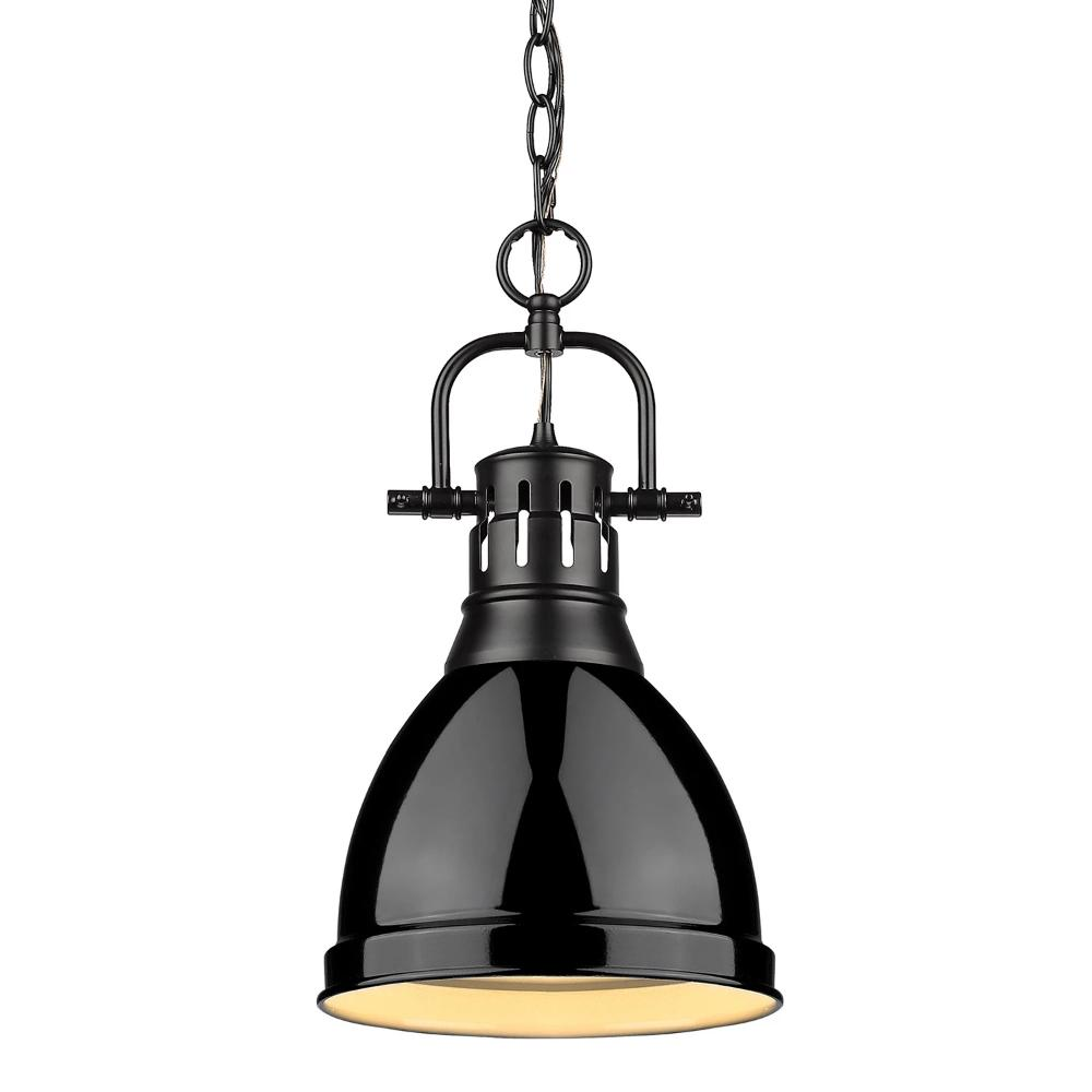 Duncan Small Pendant with Chain, Black, Black Shade