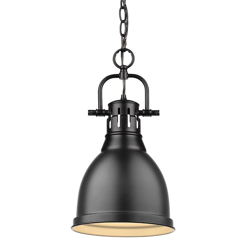 Duncan Small Pendant with Chain, Black, Matte Black Shade