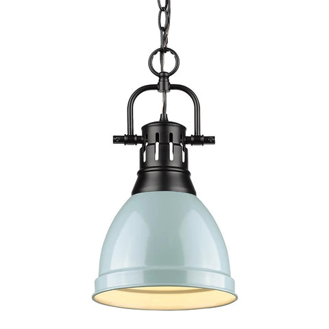 Duncan Small Pendant with Chain, Black, Seafoam Shade