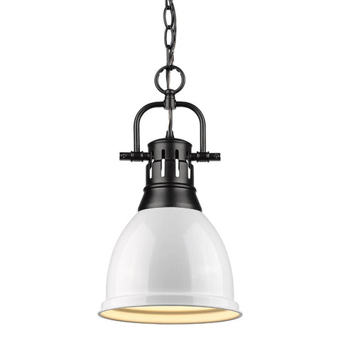Duncan Small Pendant with Chain, Black, White Shade