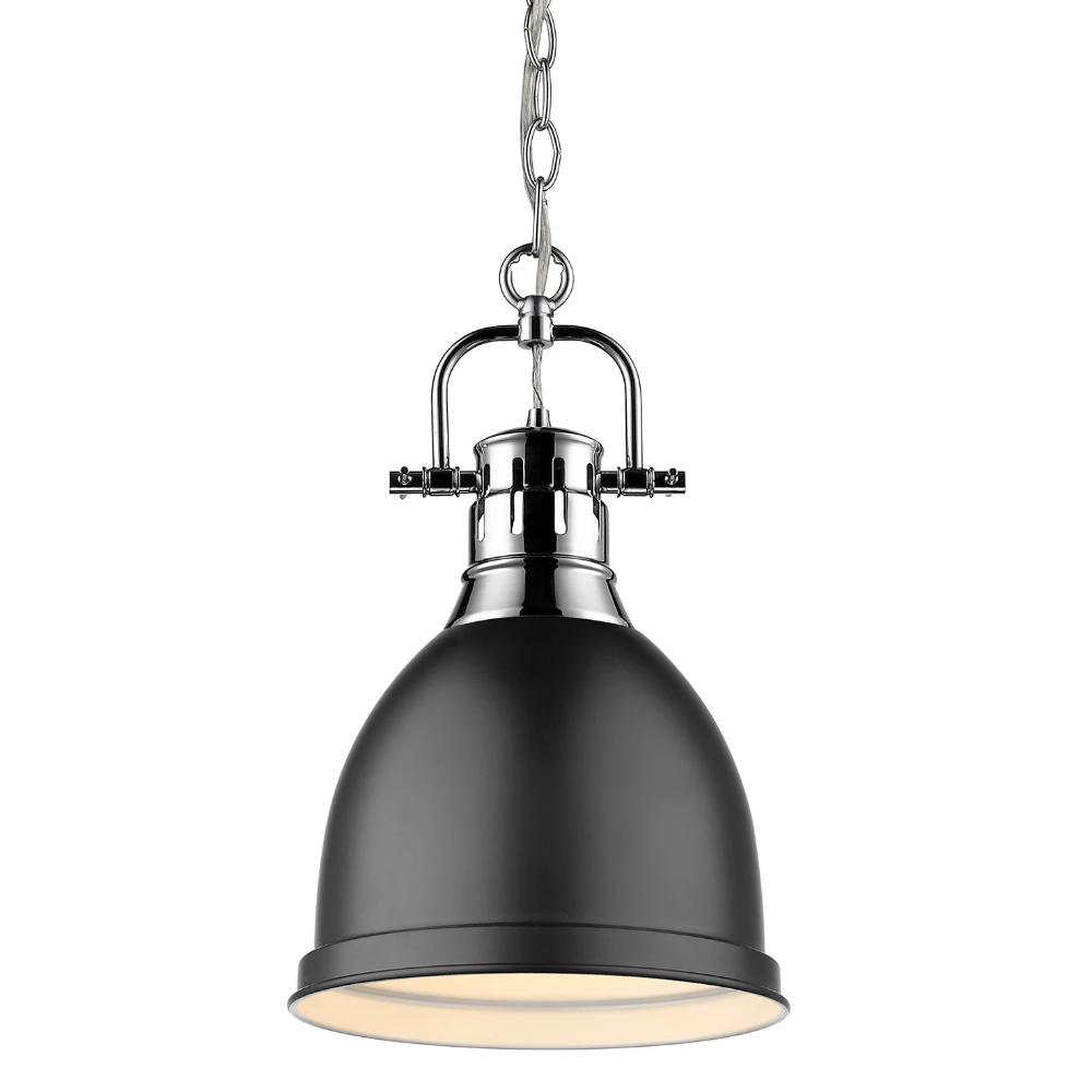 Duncan Small Pendant with Chain, Chrome, Matte Black Shade