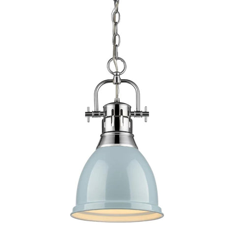 Duncan Small Pendant with Chain, Chrome, Seafoam Shade