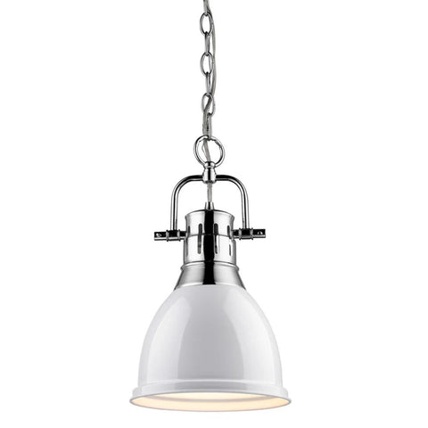 Duncan Small Pendant with Chain, Chrome, White Shade