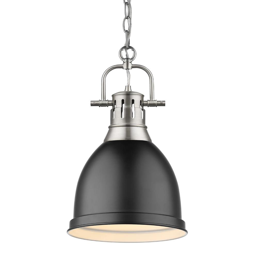 Duncan Small Pendant with Chain, Pewter, Matte Black Shade