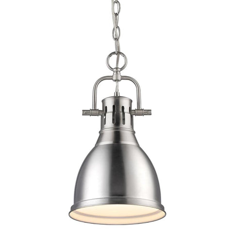 Duncan Small Pendant with Chain, Pewter, Pewter Shade