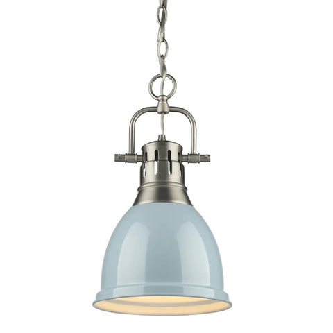 Duncan Small Pendant with Chain, Pewter, Seafoam Shade