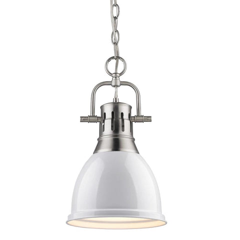 Duncan Small Pendant with Chain, Pewter, White Shade