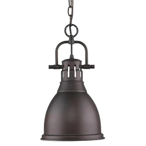 Duncan Small Pendant with Chain, Rubbed Bronze, Rubbed Bronze Shade