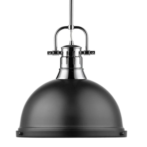 Duncan Large Pendant with Rod in Chrome, Pendant, Matte Black